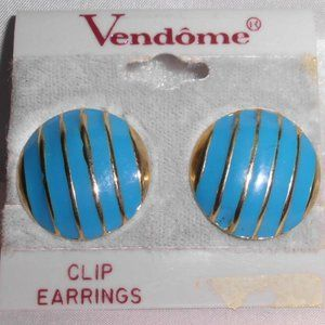 New Old Stock Vendome 1980's Gold Tone Blue